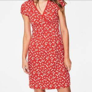 Boden Cherries Print Red Pink Faux Wrap Dress 12